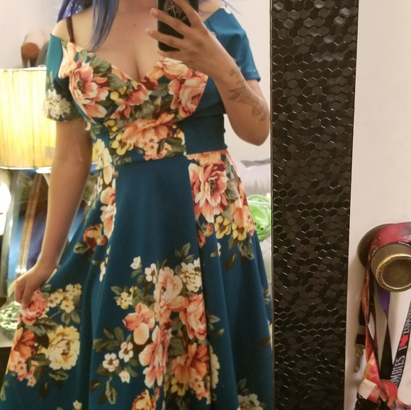 Vintage Dresses & Skirts - 50s off shoulder floral dress by steady clothing